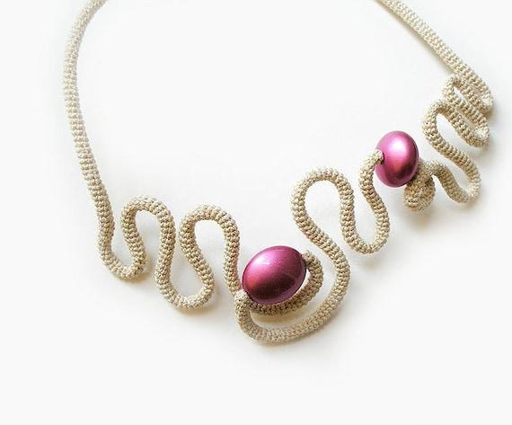 Crochet Necklace Free Form Fantasy