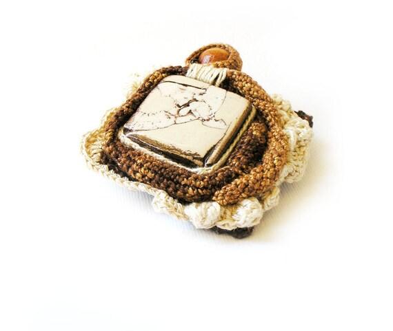 Crochet Brooch Artistic Ceramic Square