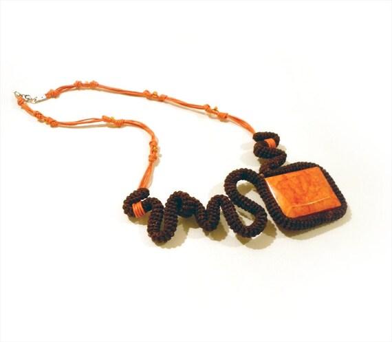 Crochet Statement Necklace Free Form Brown Orange