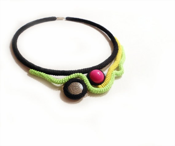 Neon Necklace, Crochet Cable Choker, Color Blocking, OOAK