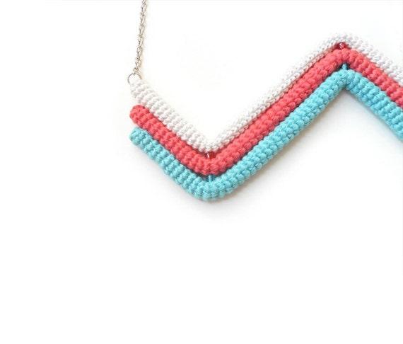 Zigzag Chevron Necklace, Geometric Necklace, Three Colored Necklace Off White Coral Aquamarine, Crochet Tube Pendant