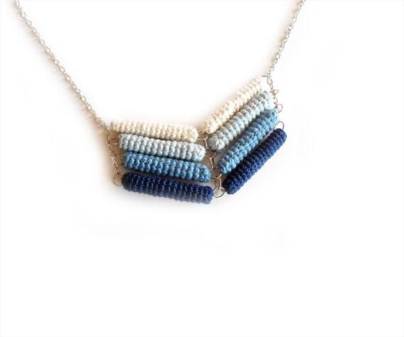 Chevron Necklace Blue Ombré, Crochet Tube Pendant, Ocean Stripe, Gradient Blue, Nautical Chic Jewelry