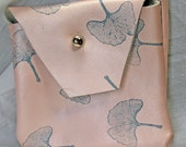 leather pouch with ginkgo leaf print