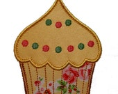 "Frosted Cupcake Applique Machine Embroidery Design Pattern in 4 sizes 3"", 4"", 5"" and 6"""