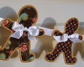 """Gingerbread Man Banner Machine Embroidery Design Applique Patterns all done In The Hoop 2 variations 4 sizes 4"""", 5"""", 6"""" and 7"""""""