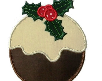 """Christmas Plum Pudding Appliques Machine Embroidery Designs Applique Pattern in 3 sizes 4"""", 5"""" and 6"""""""