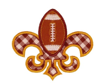 "Fleur de Football Machine Embroidery Designs Applique Pattern in 4 sizes 4"", 5"", 6"" and 7"""