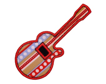 """Rockin' Guitar Applique Machine Embroidery Design Applique Pattern in 4 sizes 3"""", 4"""", 5"""" and 6"""""""