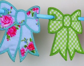 "Bow Bunting In The Hoop Project Machine Embroidery Design Applique Patterns all done ITH 4 sizes 4"", 5"", 6"" and 7"""