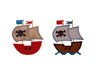 """Pirate Ship and Pirate Ship with Waves Set Appliques Machine Embroidery Designs Applique Patterns in 3 sizes 4"""", 5"""" and 6"""""""