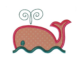 "Whale with Waves Applique Machine Embroidery Designs Pattern in 4 sizes 4"", 5"", 6"" and 7"""