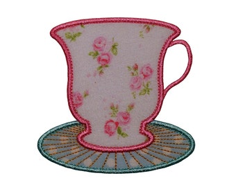 "Cup and Saucer Machine Embroidery Designs Applique Patterns in 4 sizes 3"", 4"", 5"" and 6"" perfect for a Tea Party"