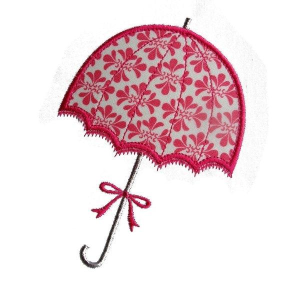 Umbrella machine embroidery applique design pattern
