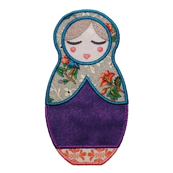 "Anoushka Babushka Doll Machine Embroidery Designs Applique Patterns 2 variations in 4 sizes 4"", 5"", 6"" and 7"""