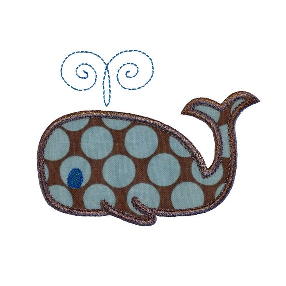 """Whale Applique Machine Embroidery Designs Pattern in 4 sizes 4"""", 5"""", 6"""" and 7"""""""