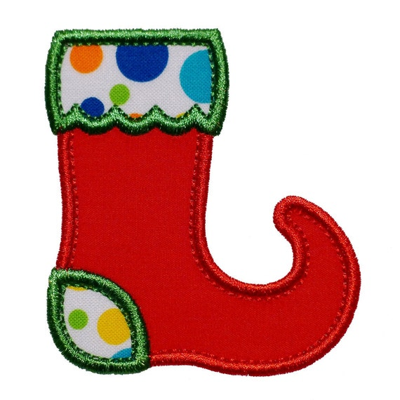 """Christmas Stocking Appliques Machine Embroidery Designs Applique Pattern in 4 sizes 3"""", 4"""", 5"""" and 6"""""""