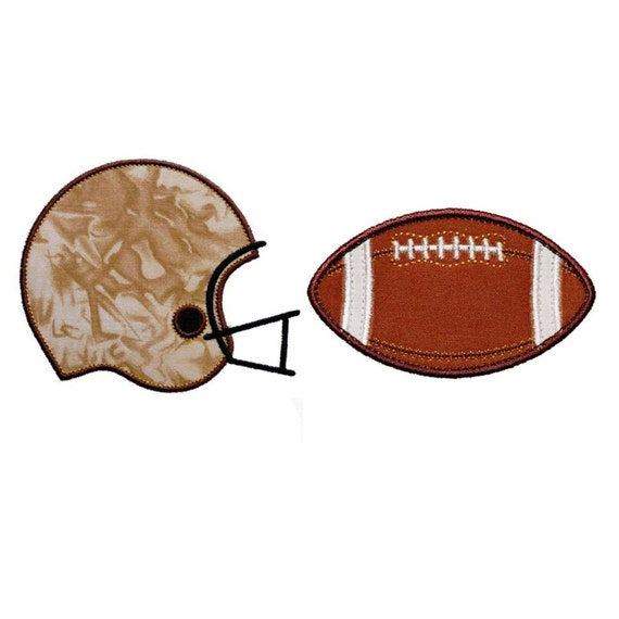 """Football and Helmet Set Appliques Machine Embroidery Design Applique Patterns 2 designs in 4 sizes each 3"""", 4"""", 5"""" and 6"""""""