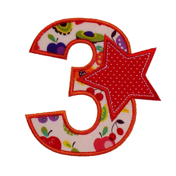 "Number Three Birthday Set Appliques Machine Embroidery Designs Applique Patterns in 3 variations and 4 sizes - 3"", 4"", 5"" and 6"""