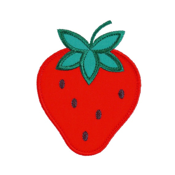 "Strawberry Appliques Machine Embroidery Designs Applique Patterns in 4 sizes 3"", 4"", 5"" and 6"""