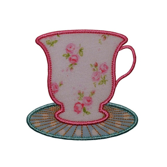 """Cup and Saucer Machine Embroidery Designs Applique Patterns in 4 sizes 3"""", 4"""", 5"""" and 6"""" perfect for a Tea Party"""