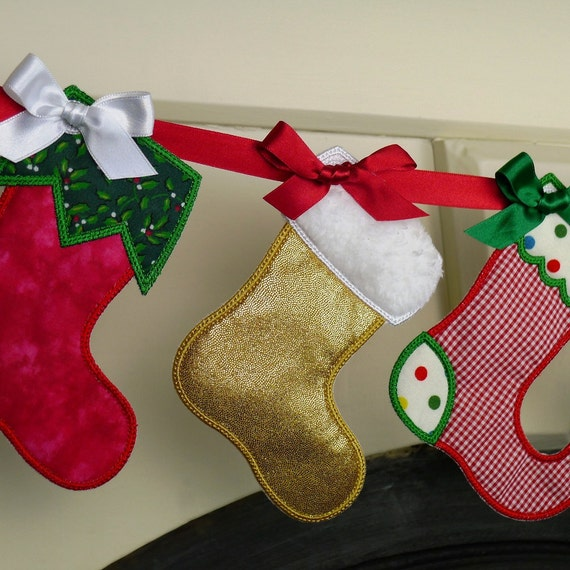 """Christmas Stocking In The Hoop Banner Machine Embroidery Design Applique Patterns all done In-The-Hoop 3 variations 3 sizes 4"""", 5"""" and 6"""""""