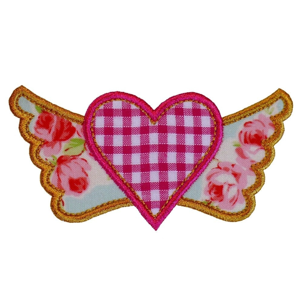 Winged heart appliques machine embroidery designs applique