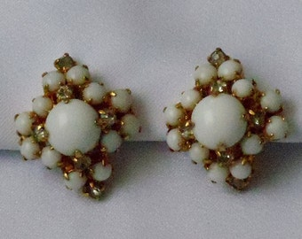 Vintage 60s Faux MilkGlass and Rhinestone Earrings