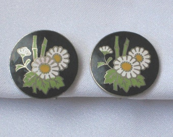 Vintage Japan Enamel on Metal Chrysanthemum Earrings