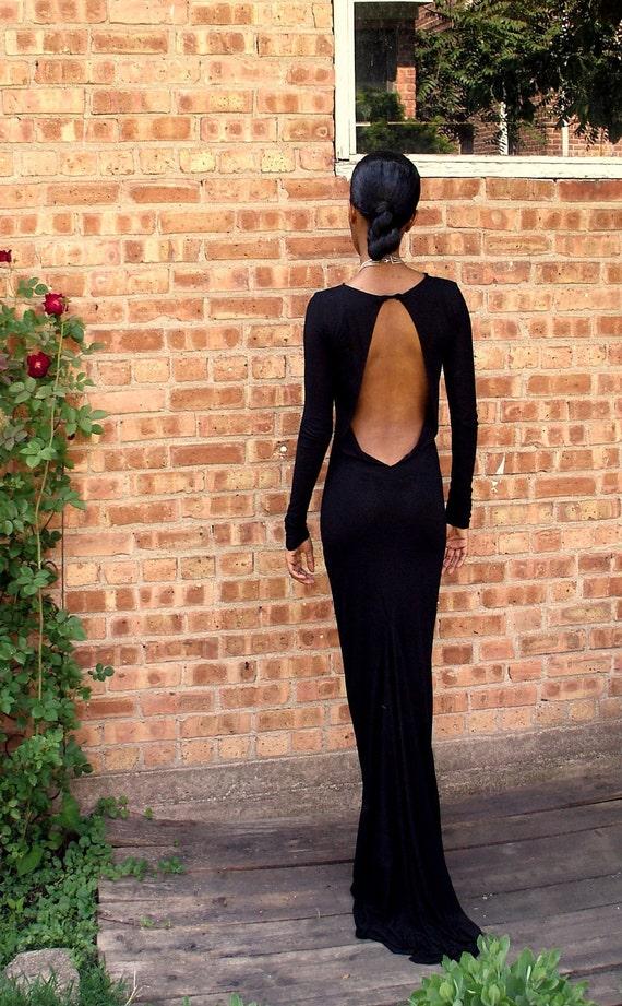 Black Backless Full Length Gown