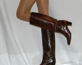 sz 7.5 8 Italian brown leather QUALITY 70s 80s boots