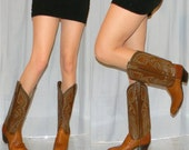 reserved for Kim sz 8 womens NICE Dan Post leather and lizard cowgirl boots