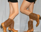 vintag 60s 70s sz 8 womens cowgirl shorty cowboy boots