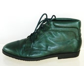 St Patricks Day sz 10 80s 90s GREEN leather pixie shoes granny boots NOS