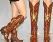 sz 6 7 70s butterfly snakeskin inlay GORGEOUS cowgirl boots