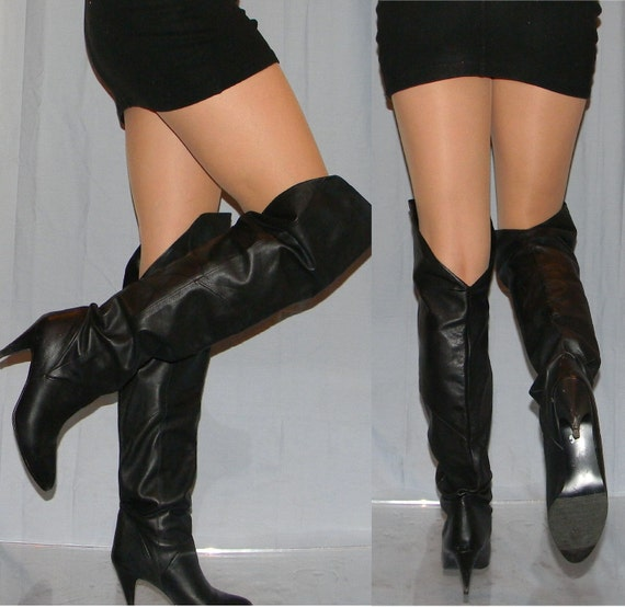 sz 6 OTK, that's right,  unscrunch to THIGH high soft leather slouch 80s rocker SEXY boots