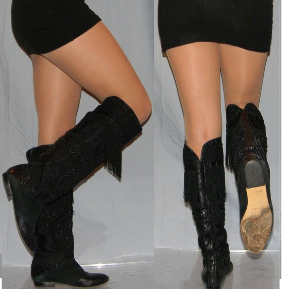 vintage 80s boots sz 6.5 80s BEADED flat fringe suede pirate slouch womens riding boots
