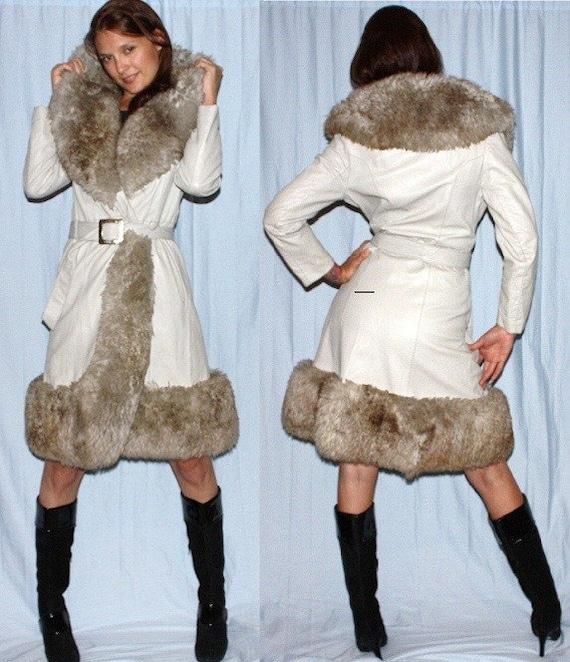 sz 10 12 60s 70s grey leather sheepskin fur womens princess coat large