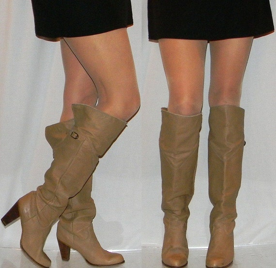 sz 9.5 10 80s Zodiac mushroom leather sexy TALL slouch boots