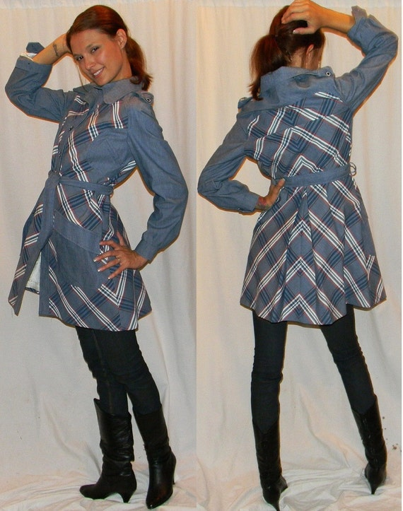 vintage plaid nautical trench coat jacket sz 10 MOD 60s 70s plaid rain coat  jacket CUTE