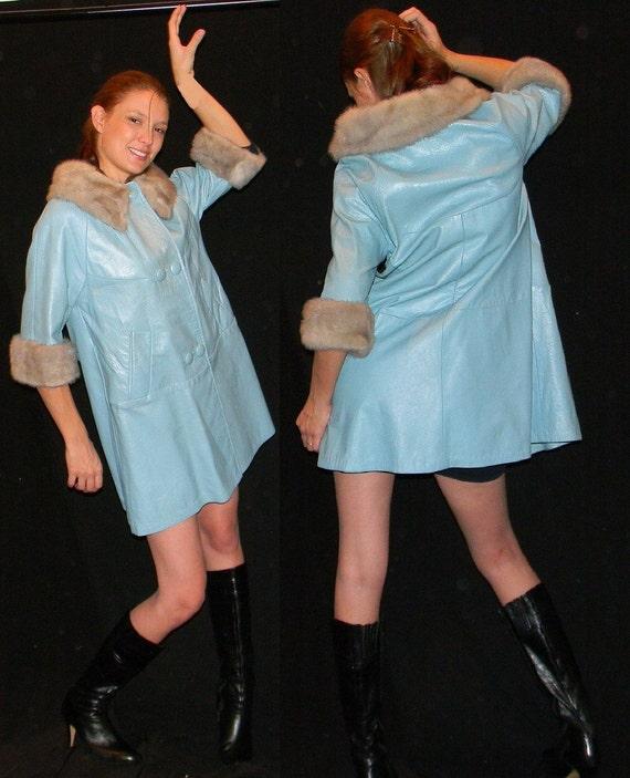 60s pearalized light blue A line silver mink fur trimmed swing coat
