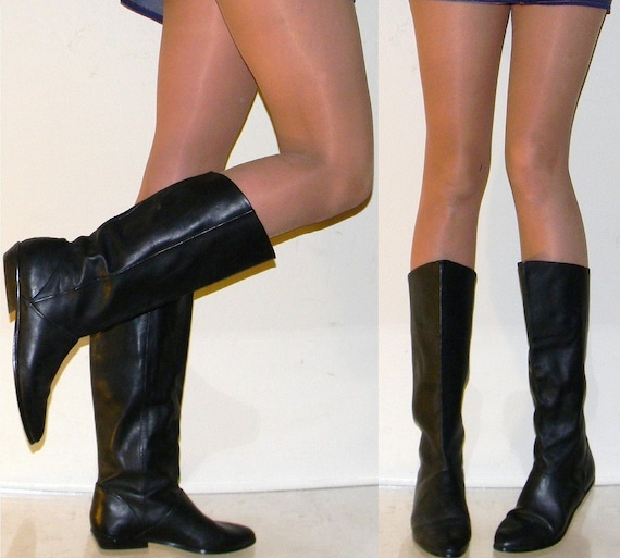 sz 7  80s classic flat black leather slouch pirate riding boots boho
