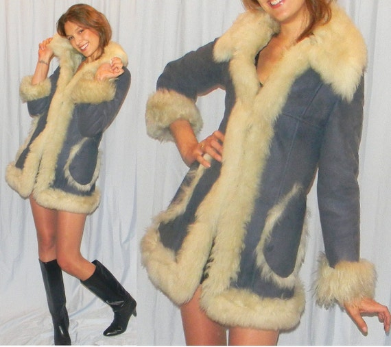 sz S 70s WARM sheepskin lined blue suede princess coat