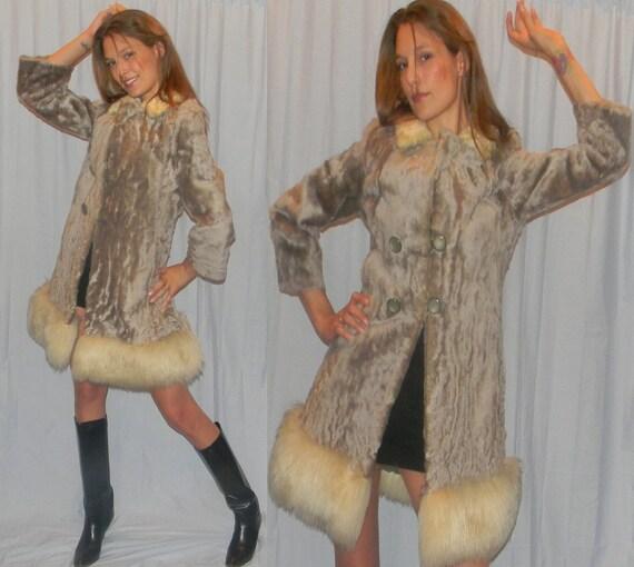 real fur sheepskin 60s MOD sheared lamb silver jacket