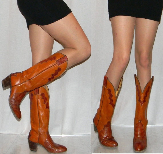 vintage womens cowboy boots sz 6 high heel SEXY 70s 80s