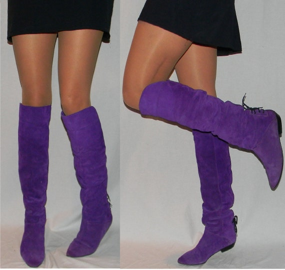 sz 9 80s purple suede OTK thigh high flat riding pirate boots