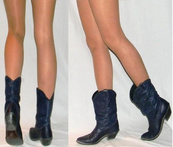 sz 8.5 9 80s blue crop cowboy roper boots