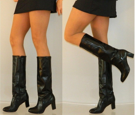 sz 9 70s black leather zip up QUALITY campus boots