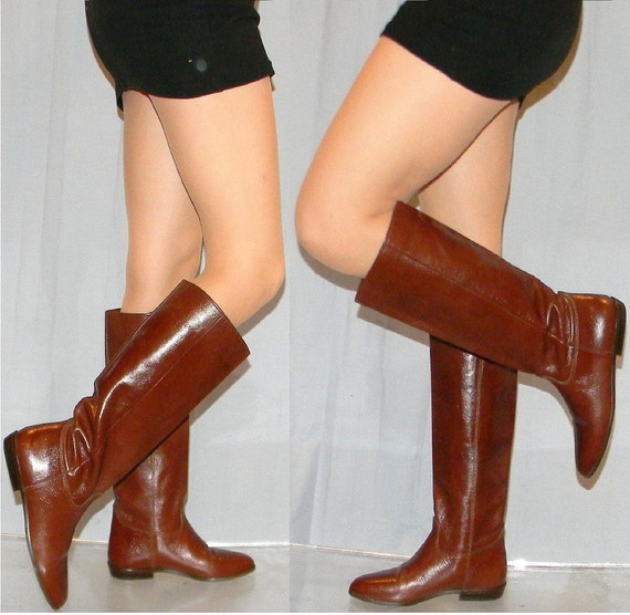 sz 6.5 9 WEST 80s shiny brown leather riding boots