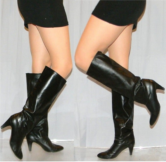 vintage 80s slouch boots sz 7 80s black leather SEXY slouch boots