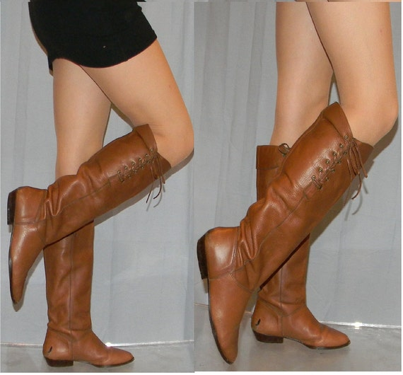 sz 5.5 80s brown leather flat riding pirate boots MIA